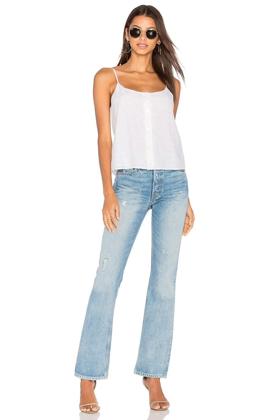 Equipment Perrin Eyelet Camisole Top In Bright White