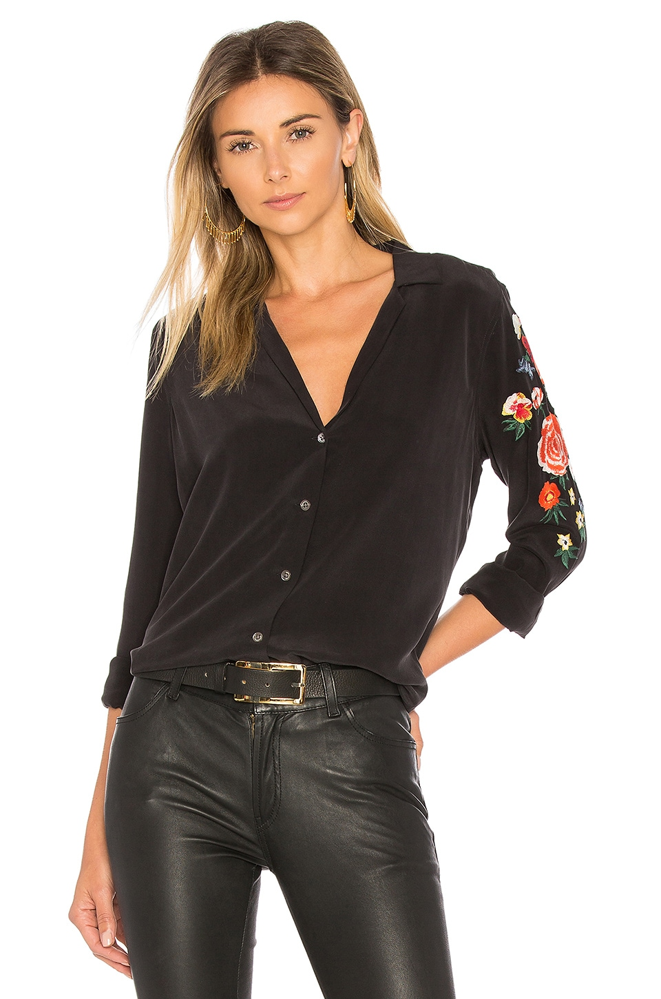 Equipment Adalyn Embroidered Button Up in True Black