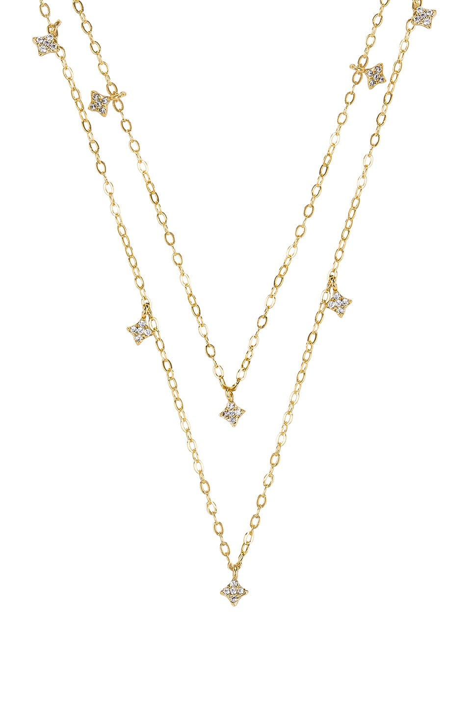 Double Shimmering Star Necklace