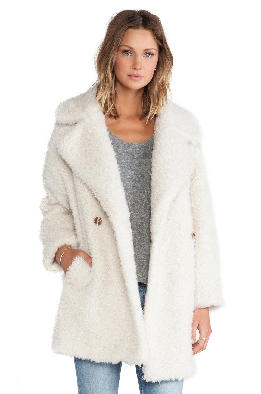 Essentiel Antwerp Haxara Maxi Faux Fur Coat in Cream