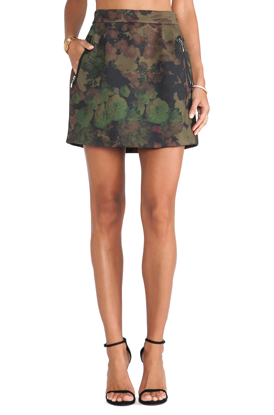 Essentiel Antwerp Hedonic Bond Girl Skirt in Flower Camo