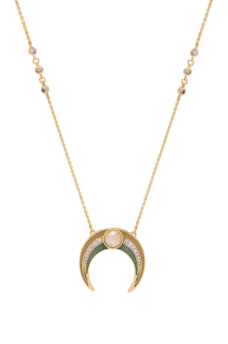 Gemstone Crescent Moonstone Necklace