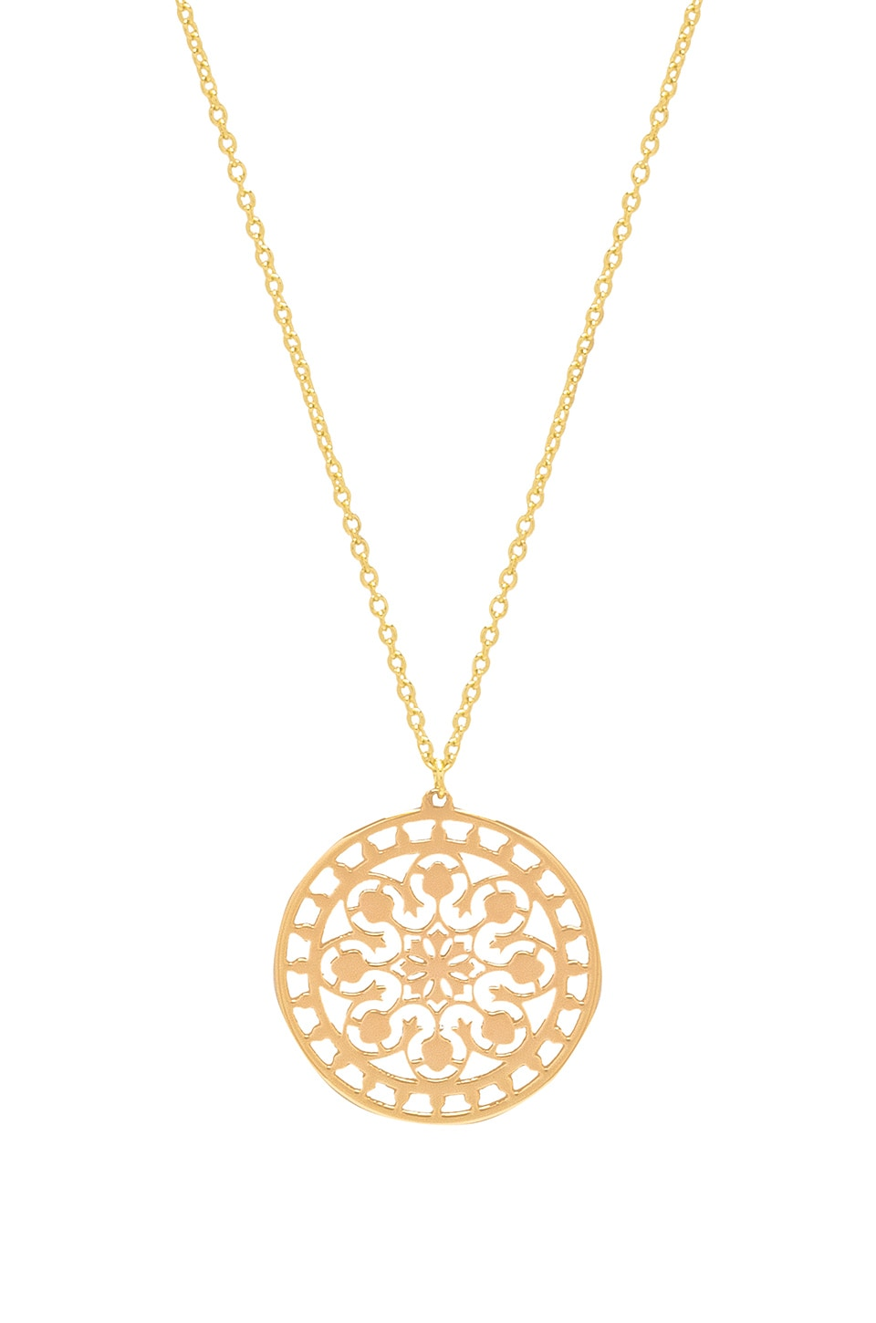 Elizabeth Stone Flora Coin Necklace in Gold