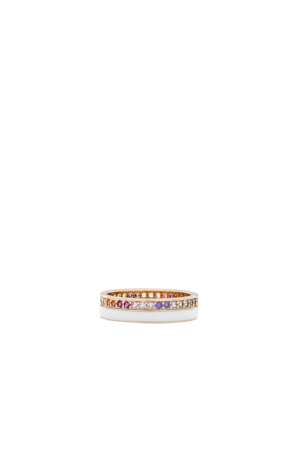 Elizabeth Stone Enamel CZ Ring in Gold, White & Rainbow