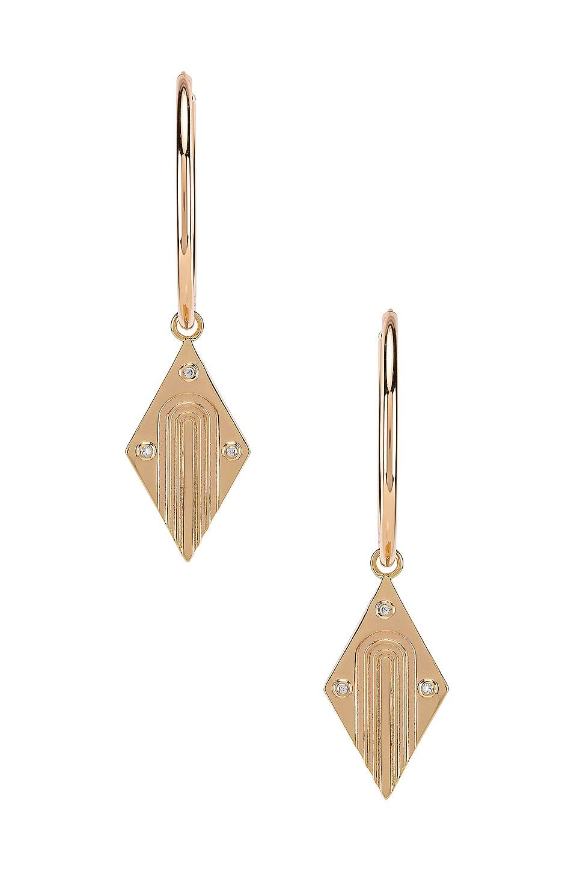 Elizabeth Stone Diamond Dangle Earrings in Gold & CZ