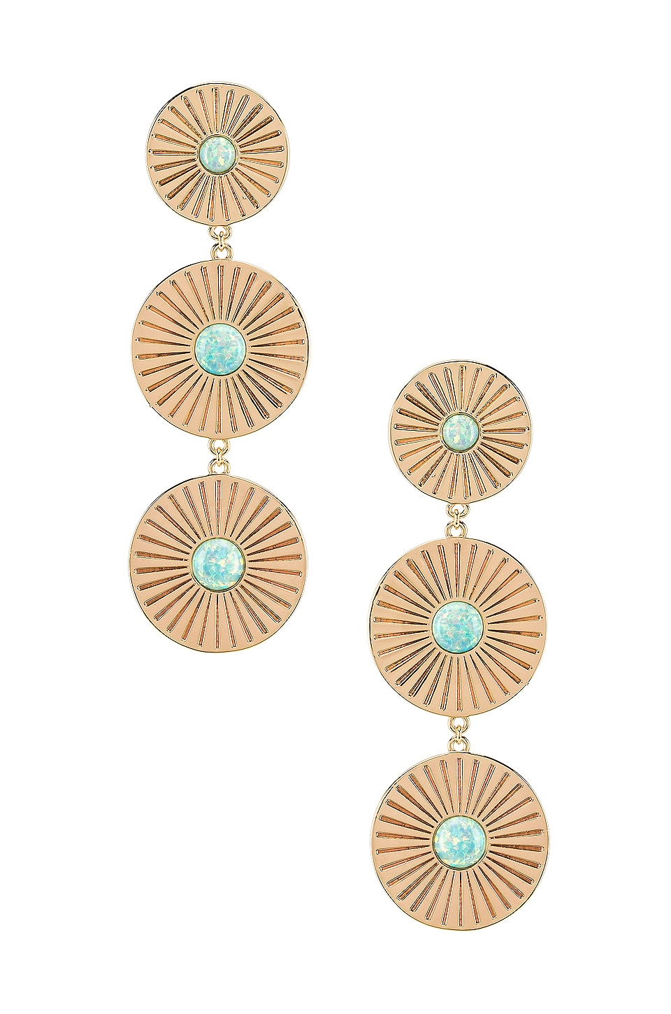 Elizabeth Stone Drop Earrings in Gold & Aqua Opal