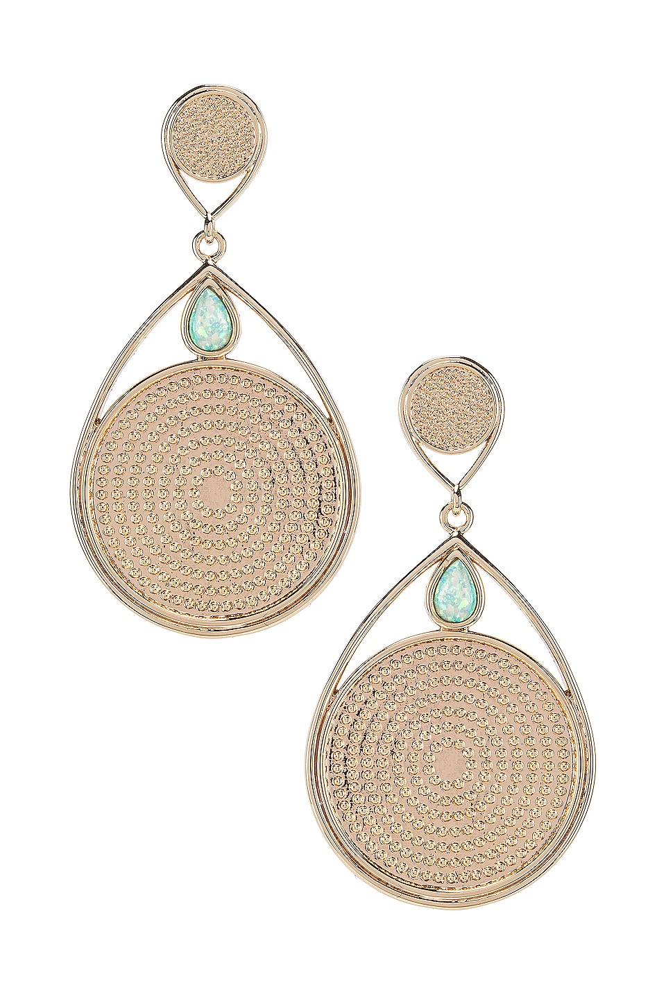 Elizabeth Stone Dangle Earrings in Gold & Aqua Opal