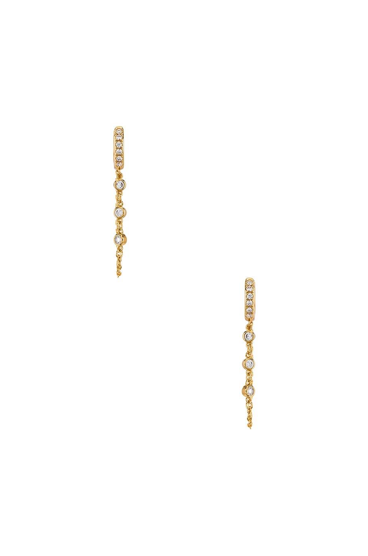 Elizabeth Stone Pave Chain Huggie Earrings in Gold