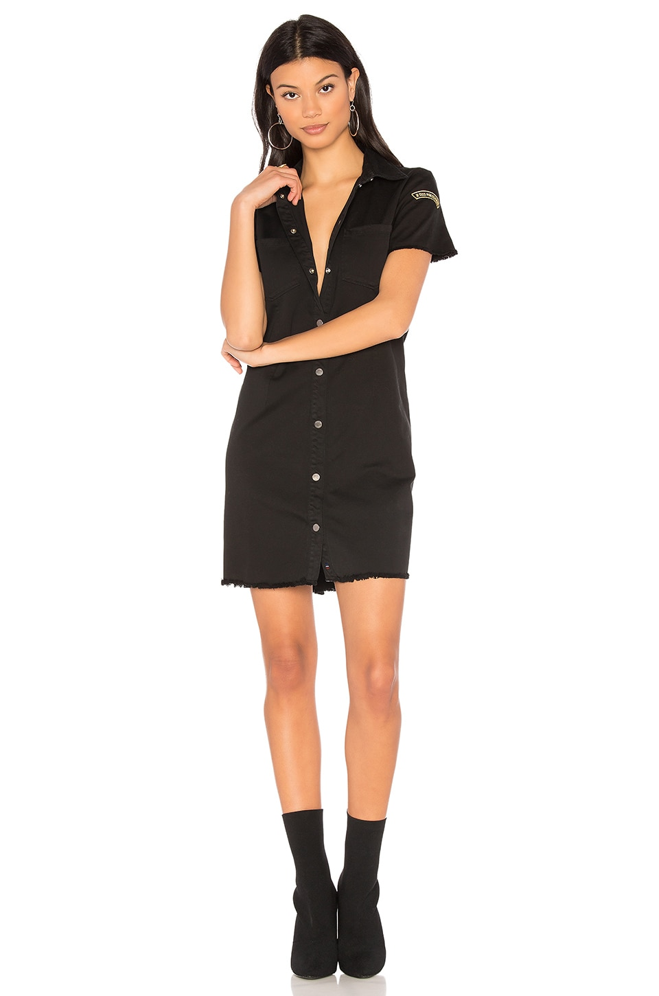 Etienne Marcel Denim Button Up Dress in Black