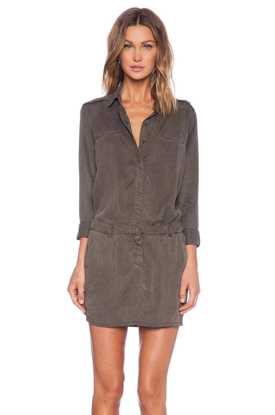 Etienne Marcel Long Sleeve Dress in Military