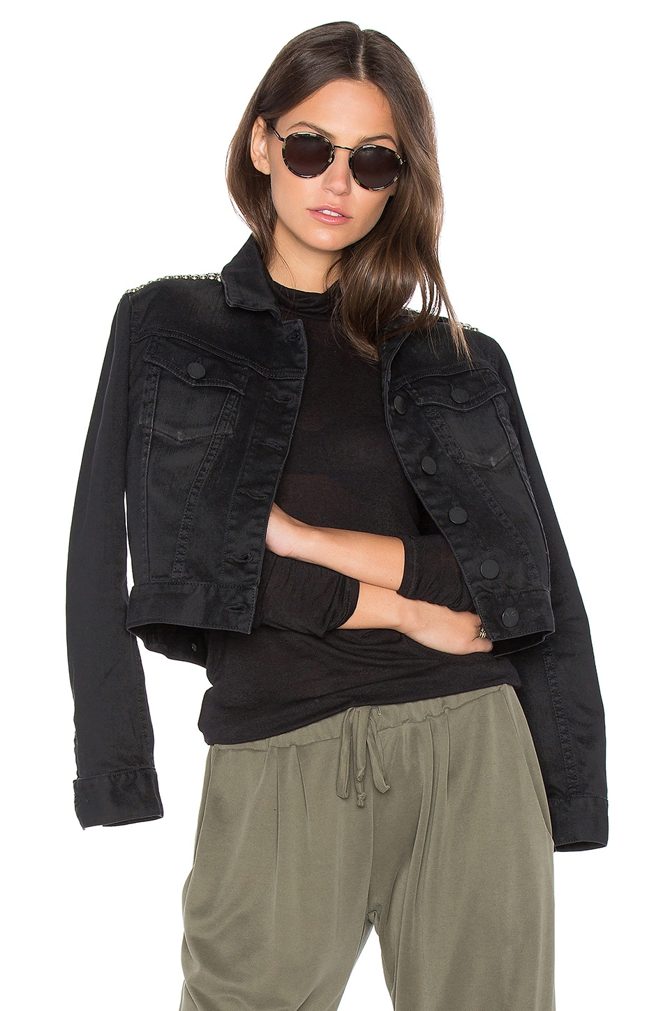 Etienne Marcel Crop Denim Jacket in Black