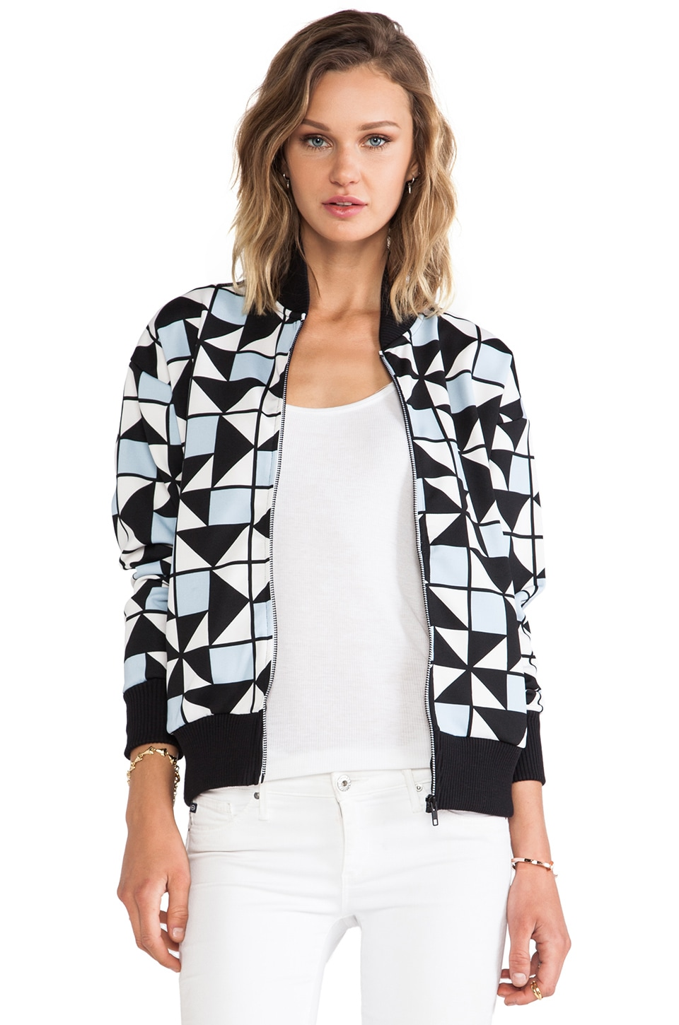etre cecile Geo Bomber Track Jacket in White & Blue