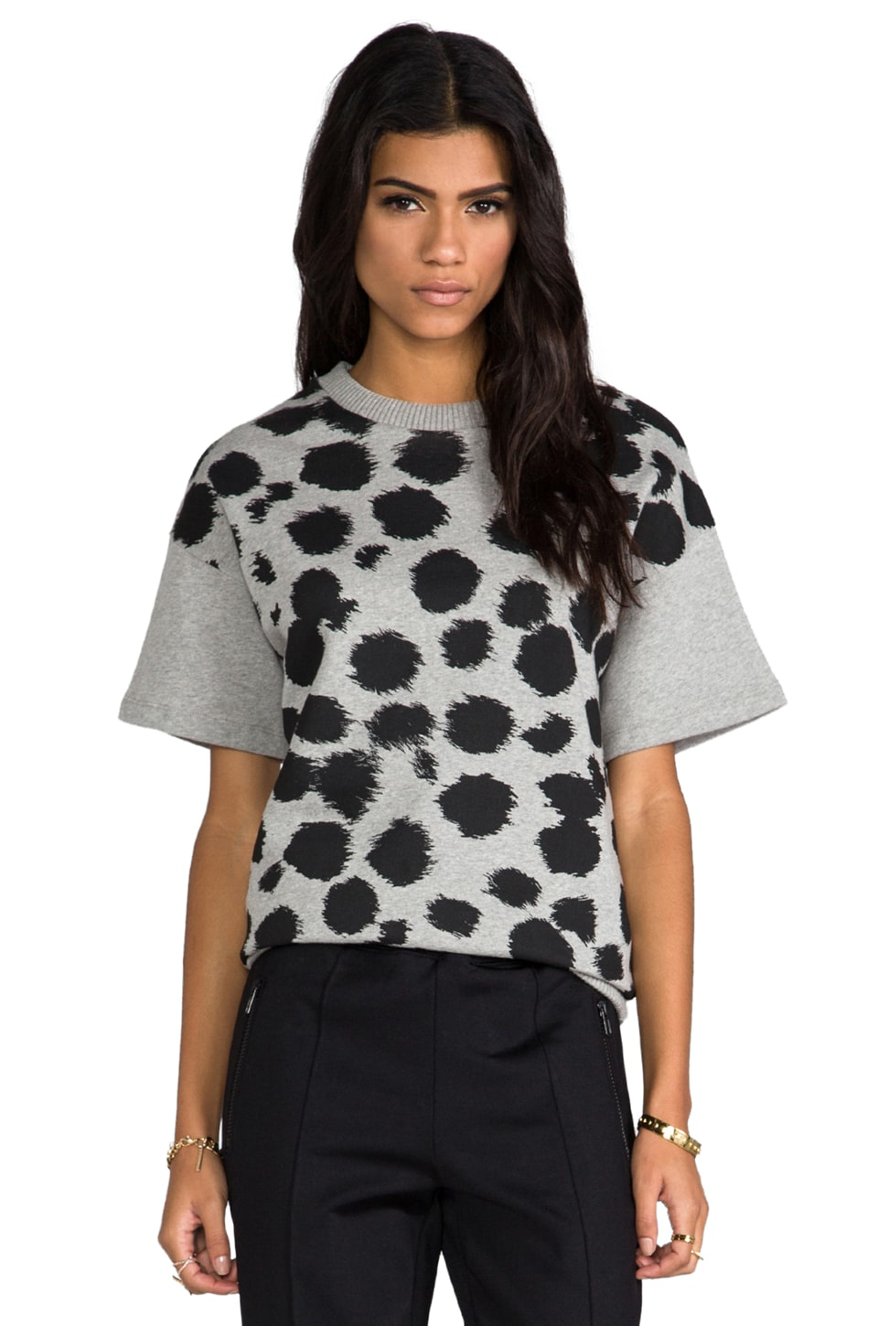 etre cecile All Over Cheetah Sweatshirt in Grey/Black