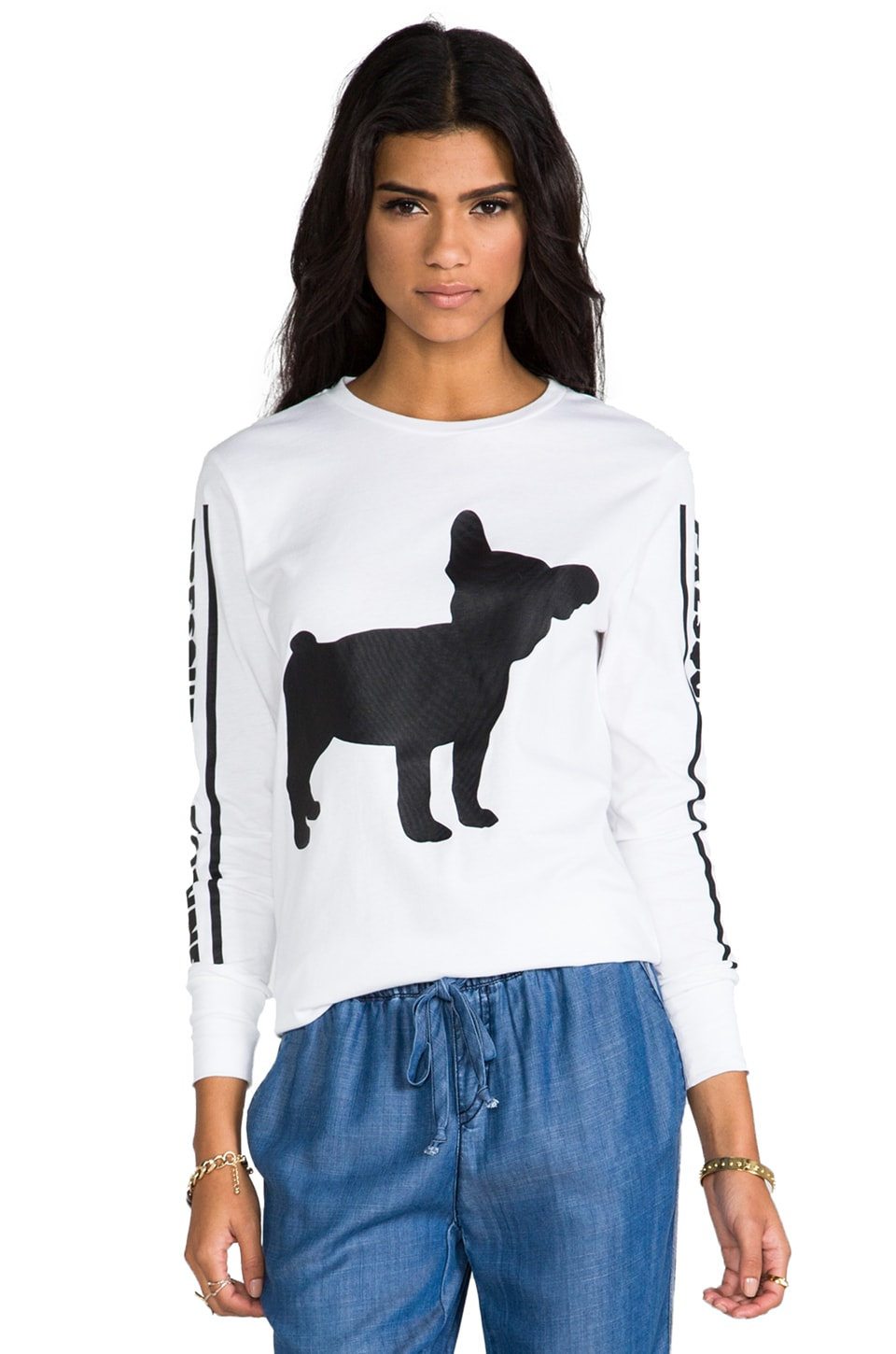 etre cecile Big Frenchie Long Sleeve T-Shirt in White/Black