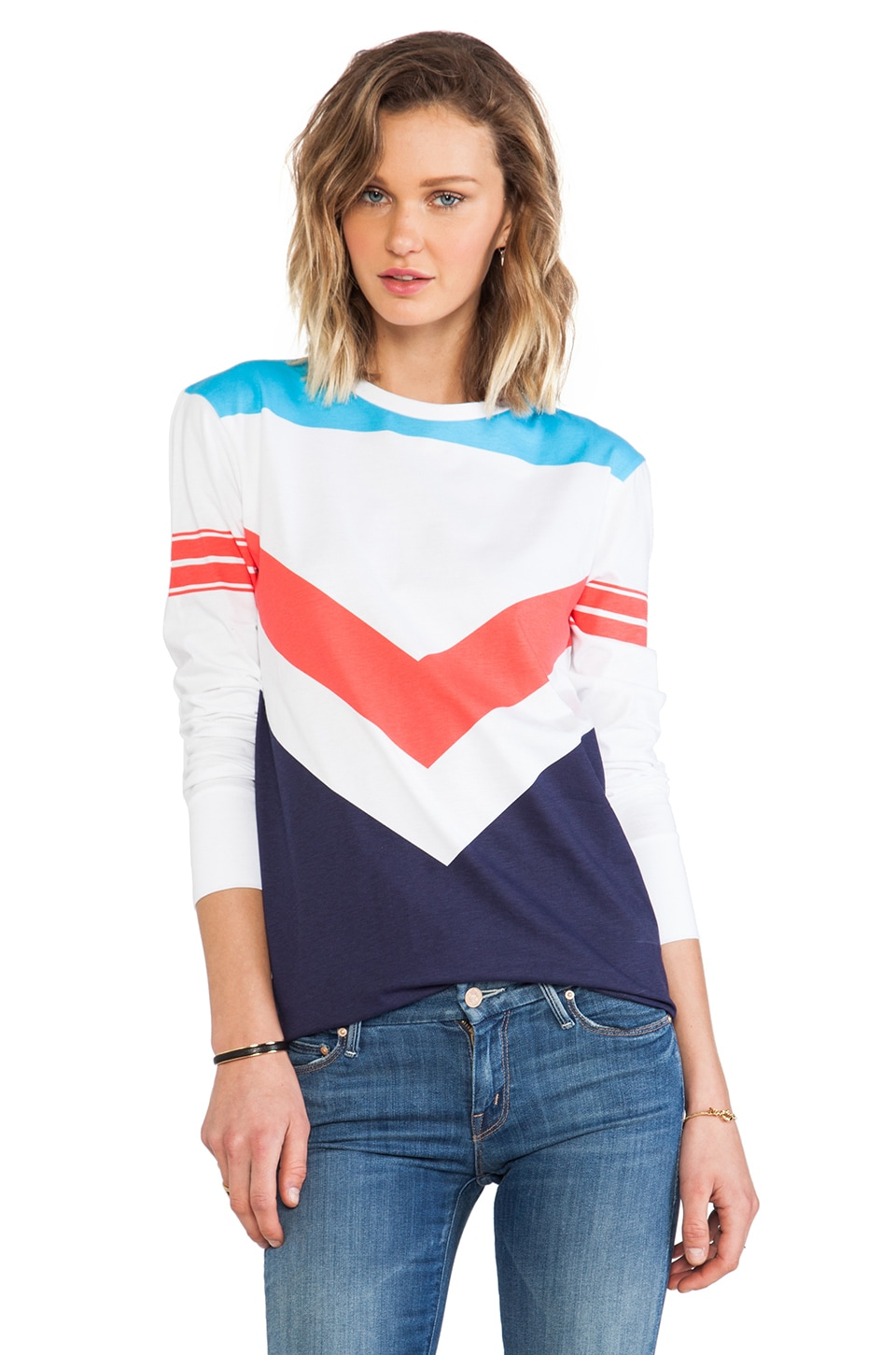 etre cecile Chevron Colour Block Long T-Shirt in White & Blue