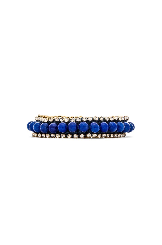 Ettika Rhinestone and Beaded Bracelet in Cobalt