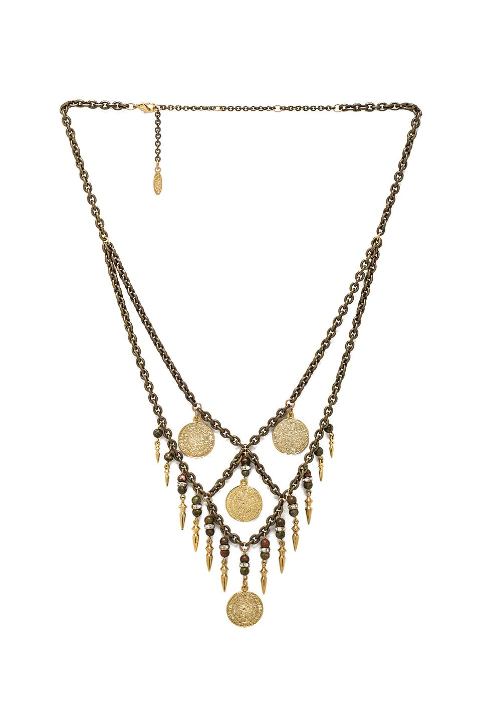 Ettika Criss Cross Necklace in Brass
