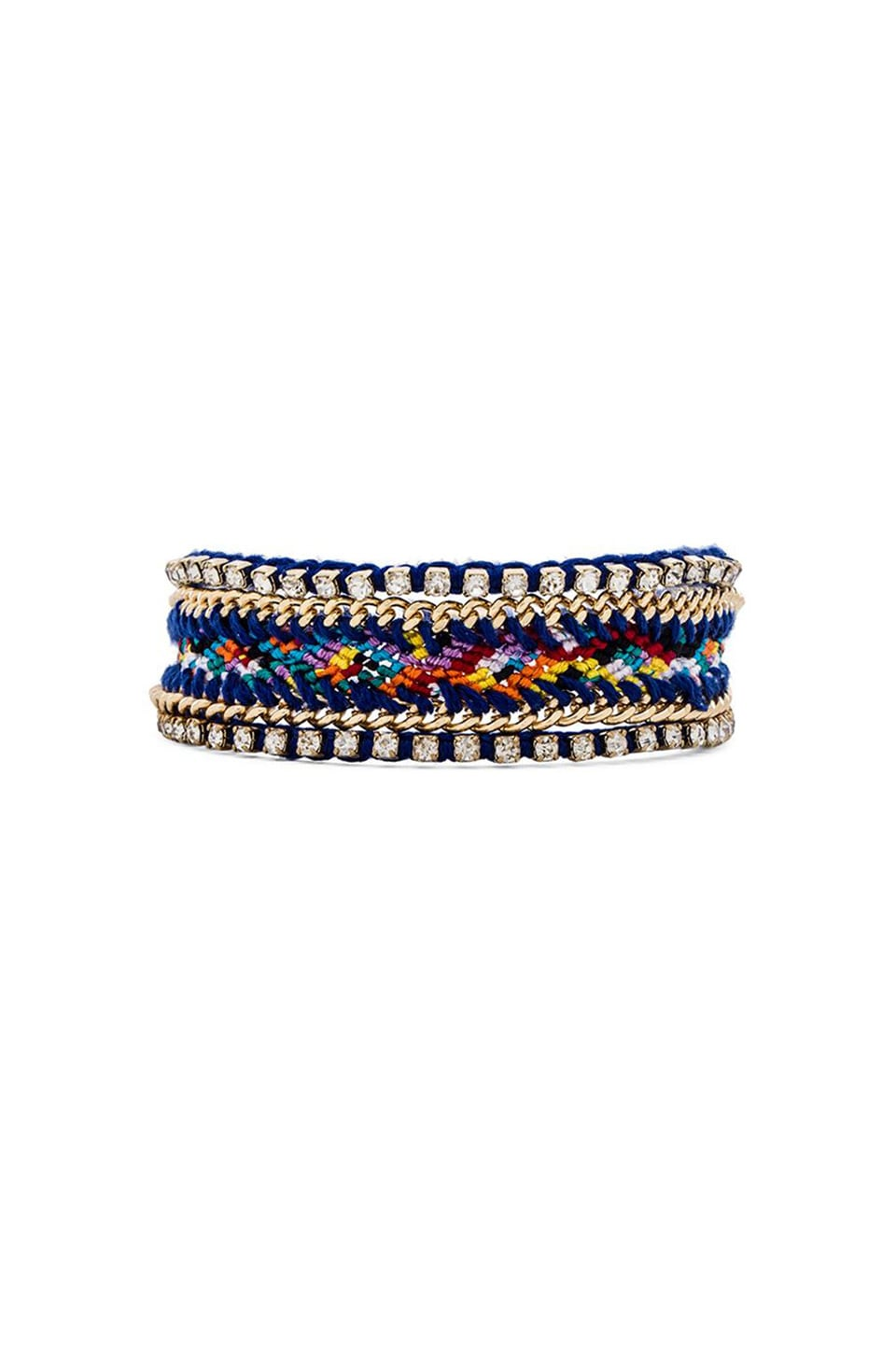 Ettika Crystal Friendship Bracelet in Gold & Cobalt Multi