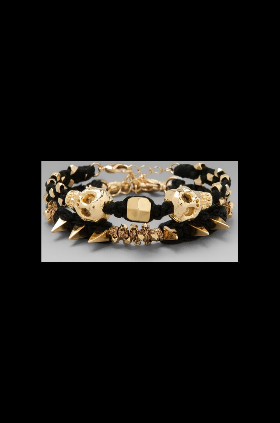Ettika Gold Skull Wrap Bracelet in Black
