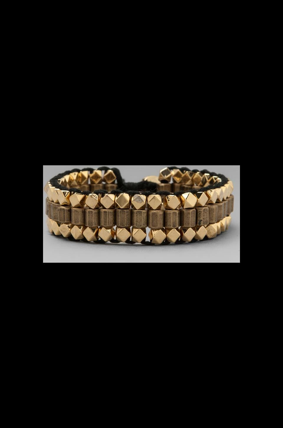 Ettika Hammered Gold Bracelet in Black