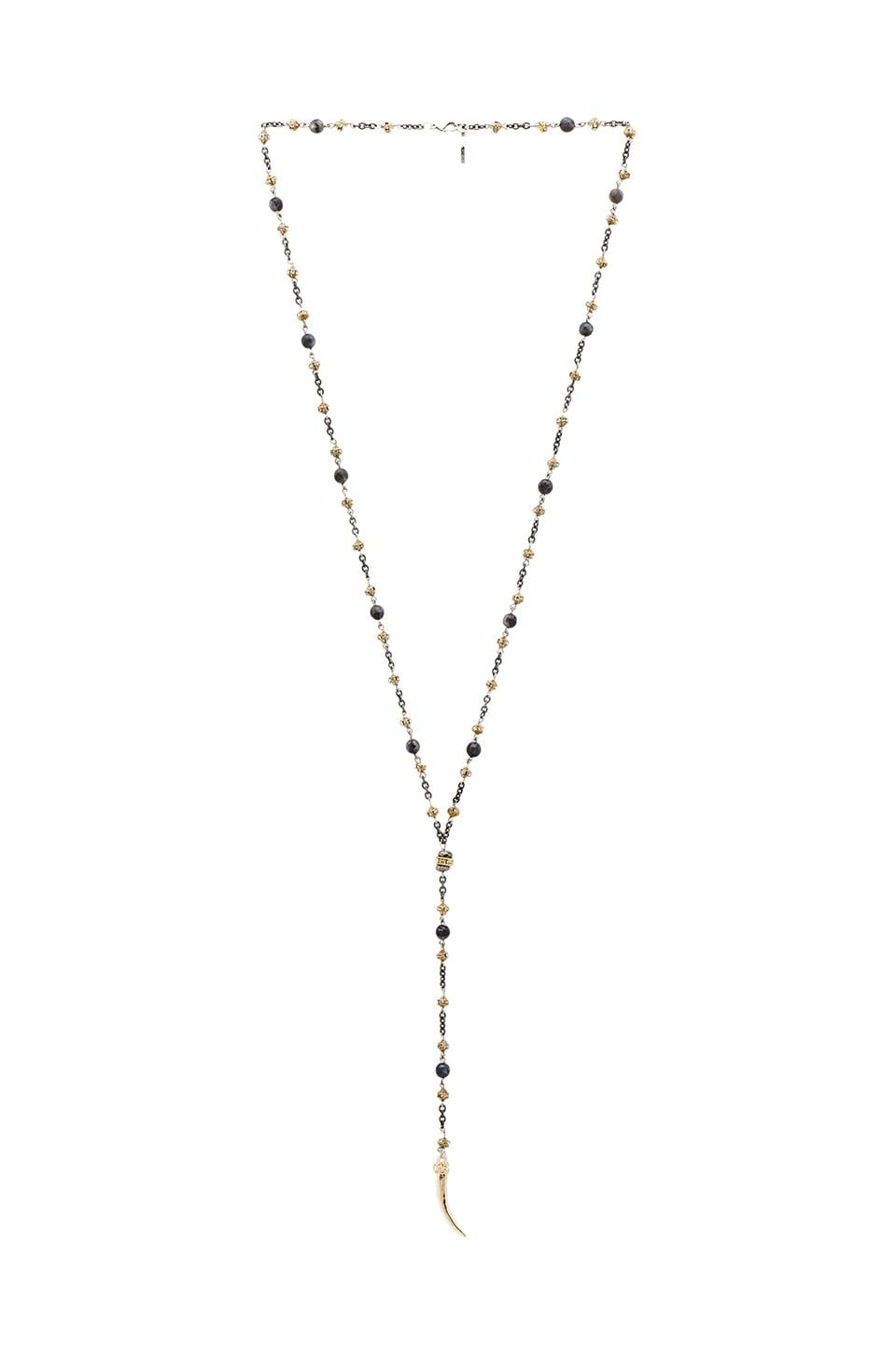 Ettika Horn Rosary Necklace in Grey & Gold