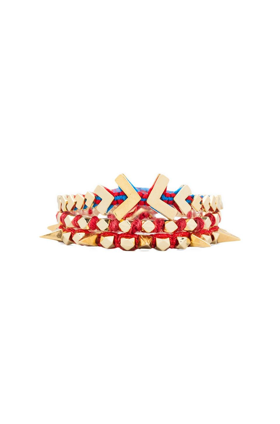 Ettika Gold Chevron Wrap Bracelet in Red Multi
