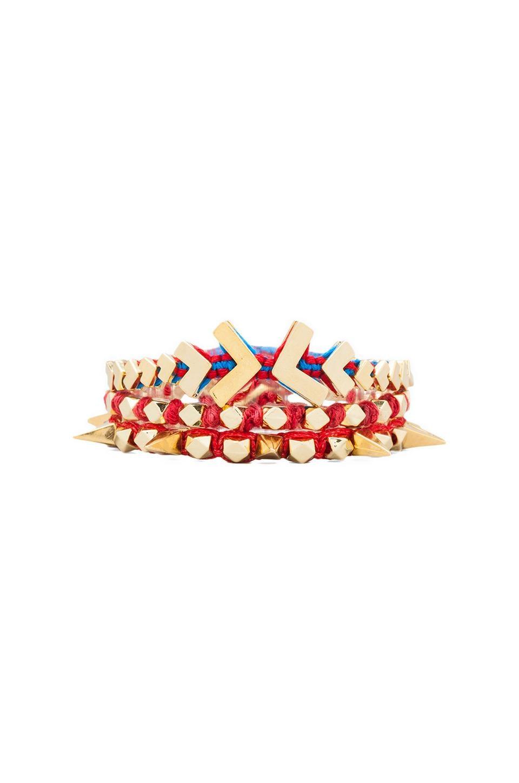 Ettika Gold Chevron Wrap Bracelet in Red Multi