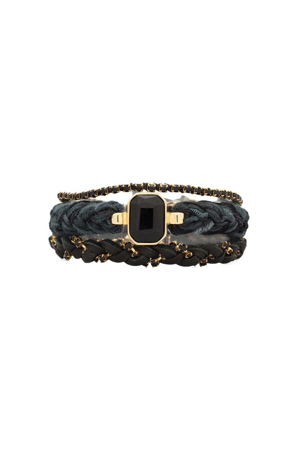 Ettika Black Diamonds Wrap Bracelet in Black