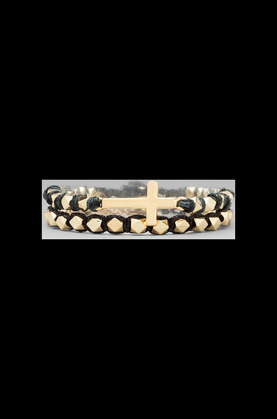 Ettika Gold Cross Stud Bracelet in Black