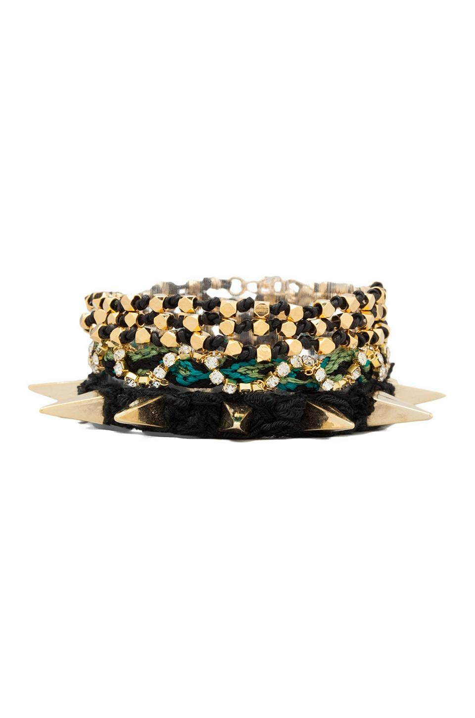 Ettika Gold Spiked Wrap Bracelet in Black/Green Multi