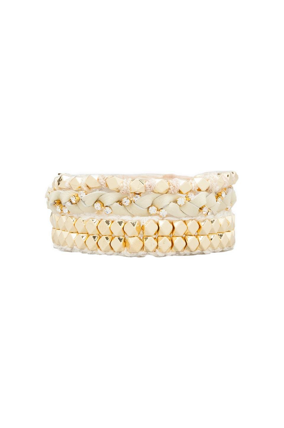 Ettika Gold Stud Wrap Bracelet in Cream
