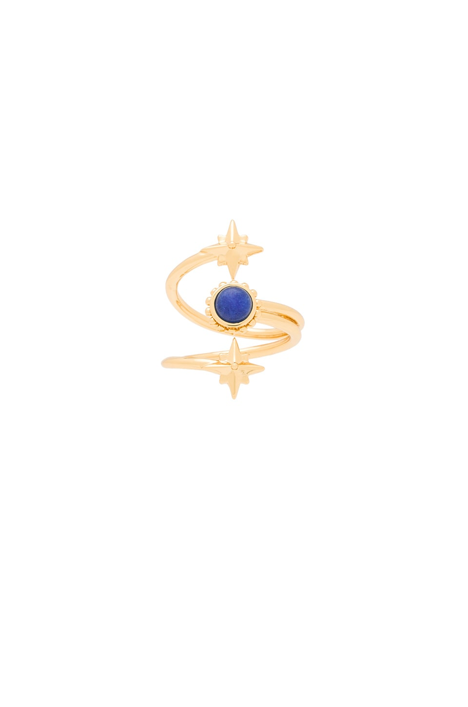 Ettika Star Wrap Ring in Gold & Lapis
