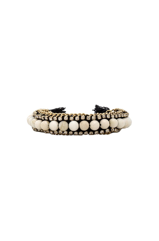 Ettika Beaded Friendship Bracelet in Gold, White & Black