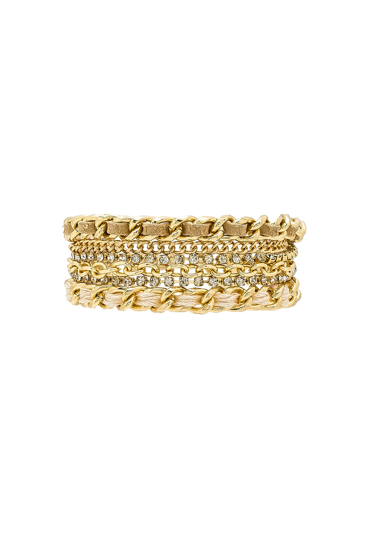 Ettika Raised Bar Bracelet in Gold & Gold