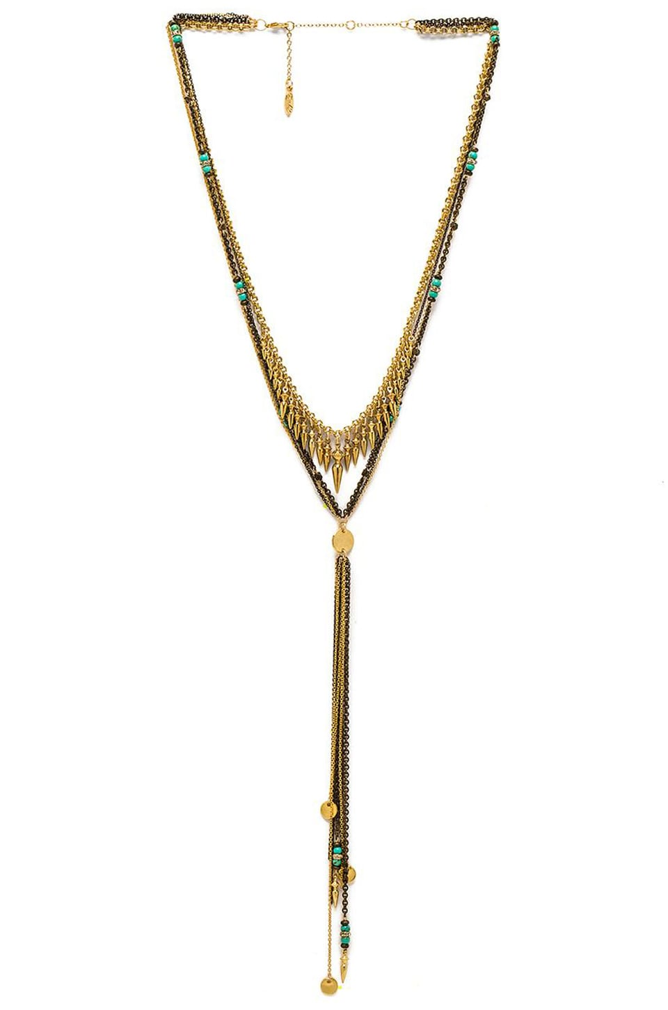 Ettika Multi Spike Layered Necklace Multi in Gold & Turquoise