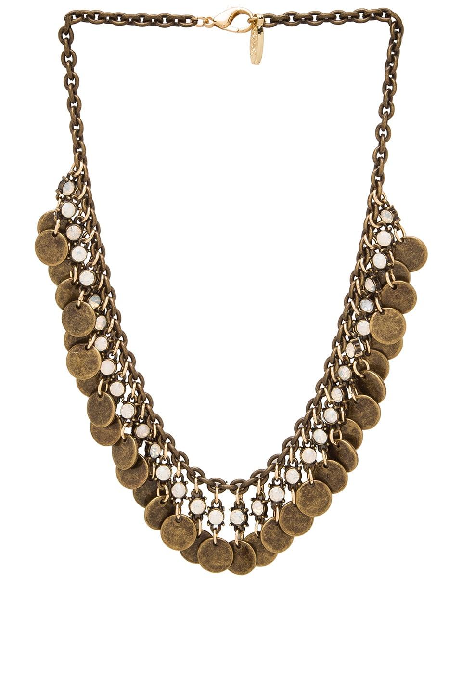 Ettika Disc and Choker Necklace in Brass & Opal