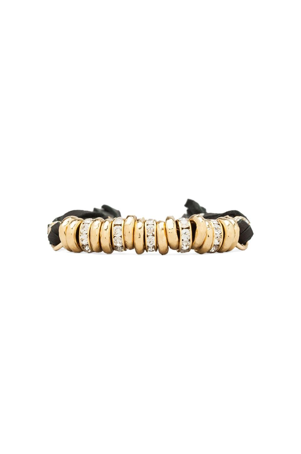 Ettika Gold Beads Bracelet with Diamonds in Black