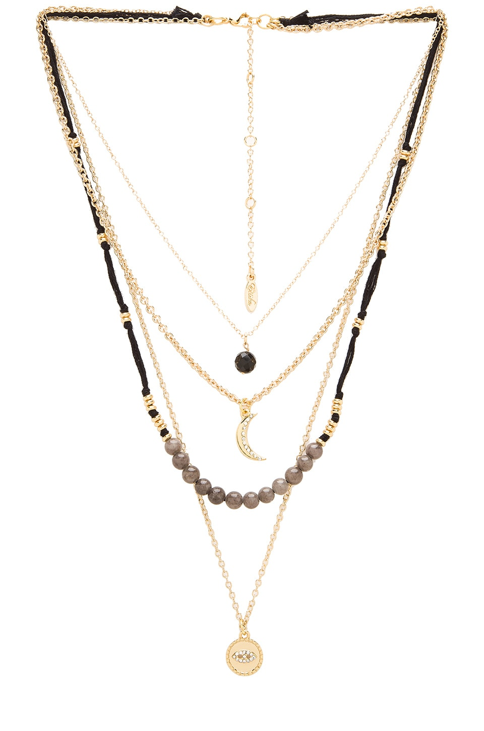 Ettika Layered Beaded Charm Necklace in Gold & Black
