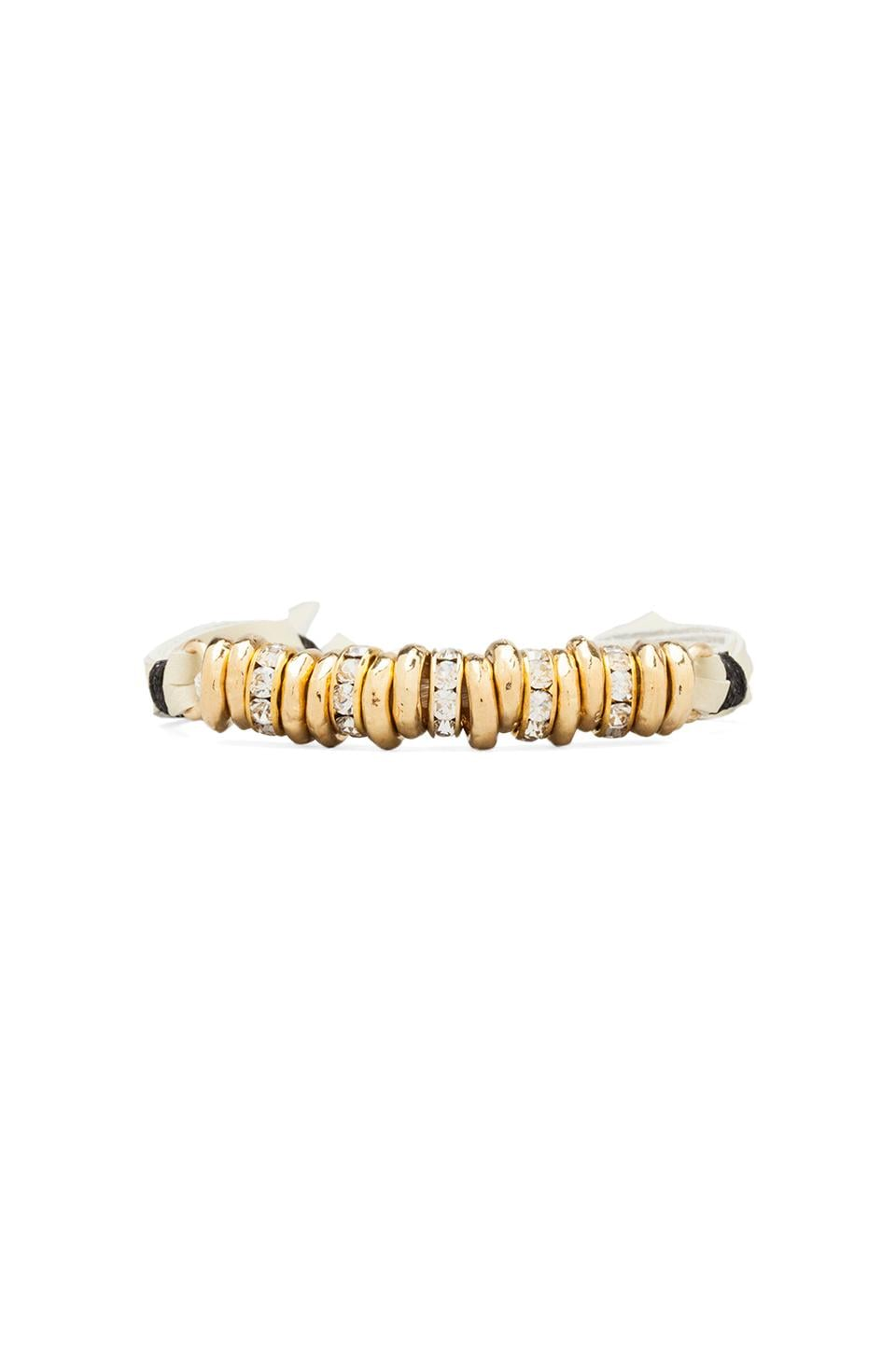 Ettika Gold Beads Bracelet with Diamonds in Cream
