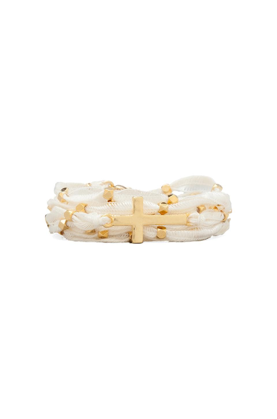 Ettika Gold Cross Wrap Bracelet in Cream
