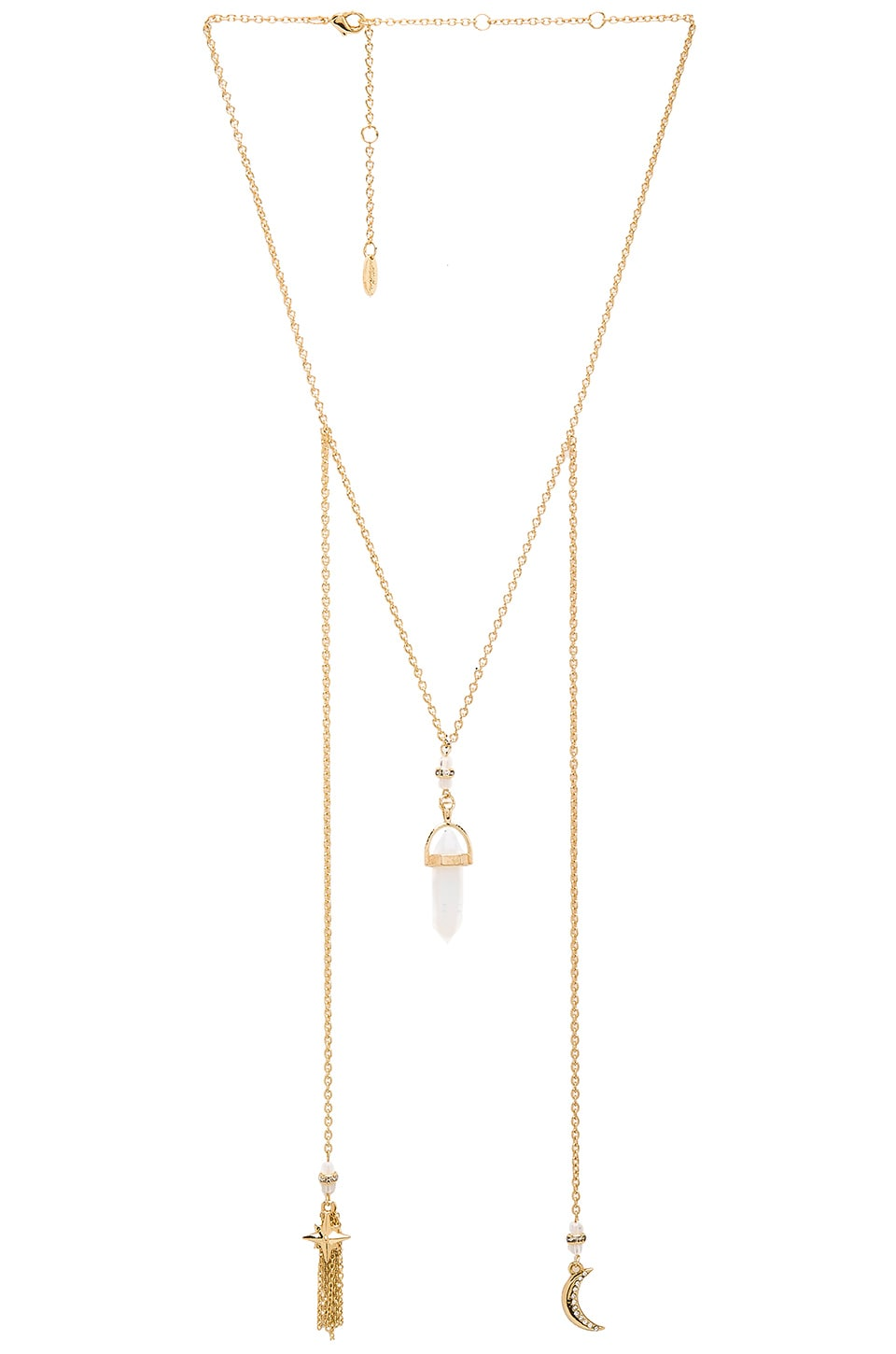 Ettika Crystal Charm Chain Necklace in Gold