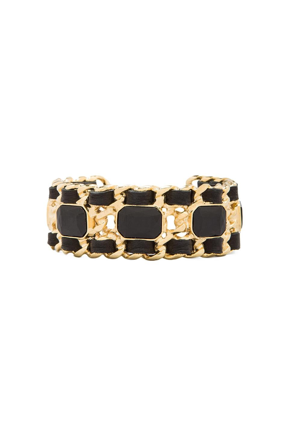 Ettika x REVOLVE Crystal Chain Cuff in Black/Gold