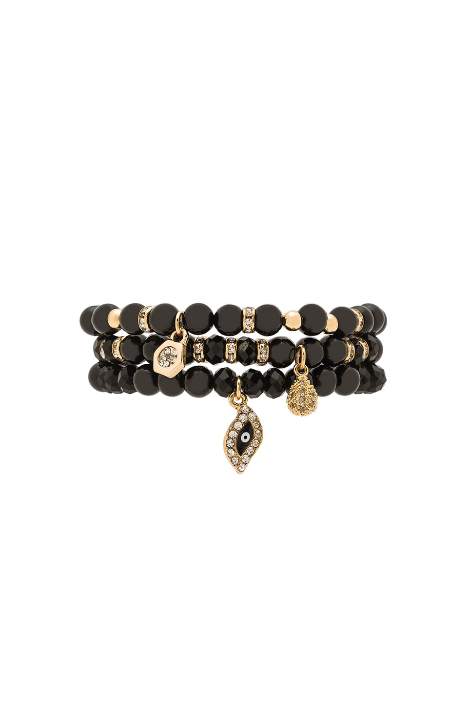 Ettika Set of 3 Bracelets in Black & Gold