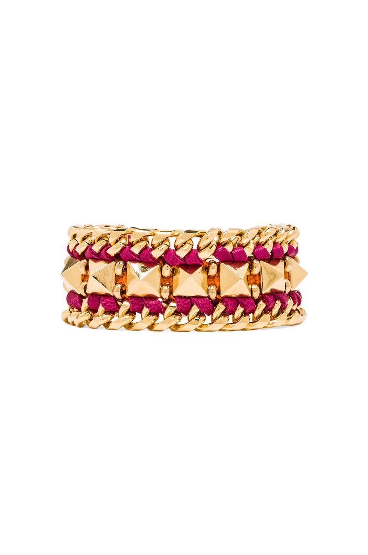 Ettika Leather Pyramid Cuff Bracelet in Gold/Pink