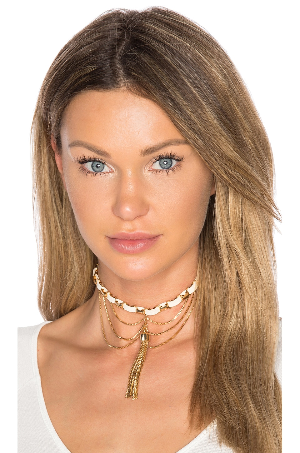 Ettika Tassel Chain Choker in Gold