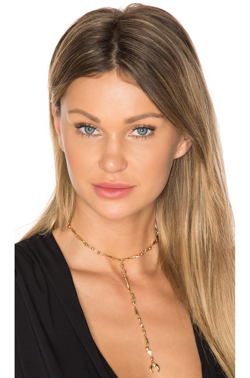 Ettika Fashionably Late Drop Choker in Gold