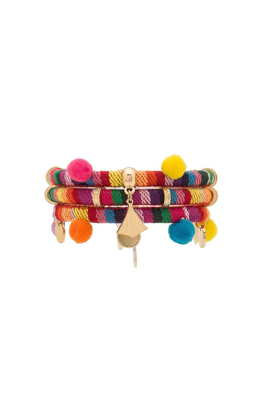 Ettika Dahl Multi Pom Pom Bracelet in Rainbow