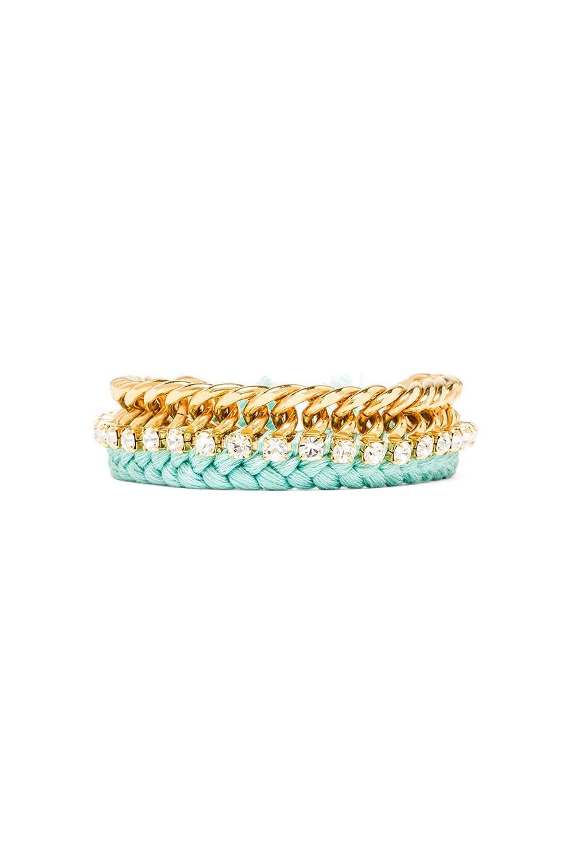 Ettika Braided Chain Bracelet in Mint