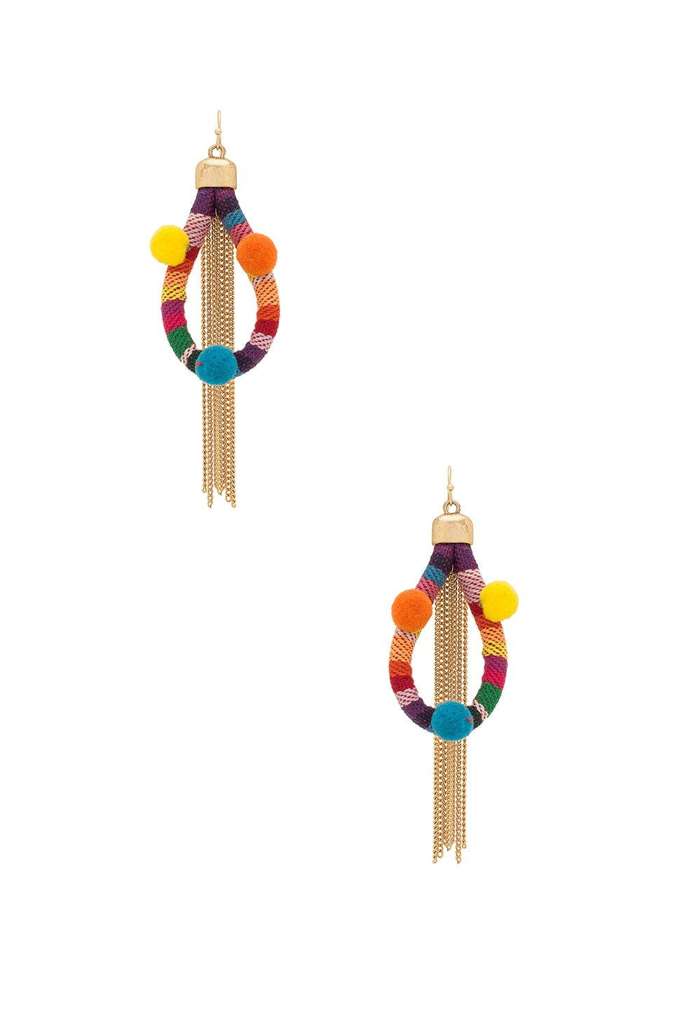 Ettika Dahl Multi Pom Pom Earrings in Rainbow
