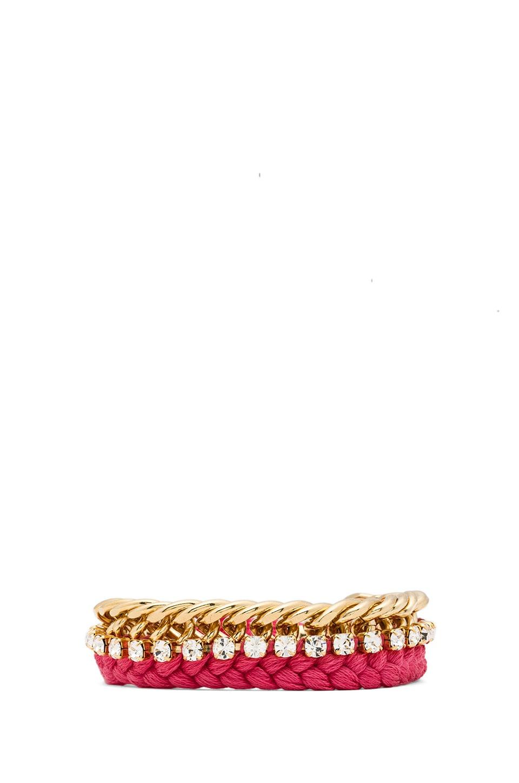 Ettika Chain Stud Bracelet in Pink & Gold